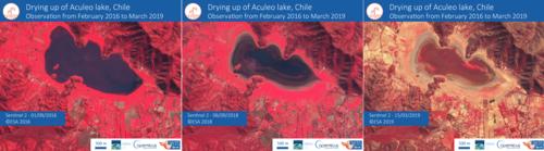 De février 2016 à mars 2019, l'eau du lac s'est progressivement tarie. (En rouge, les éléments végétaux, en noir l'eau).